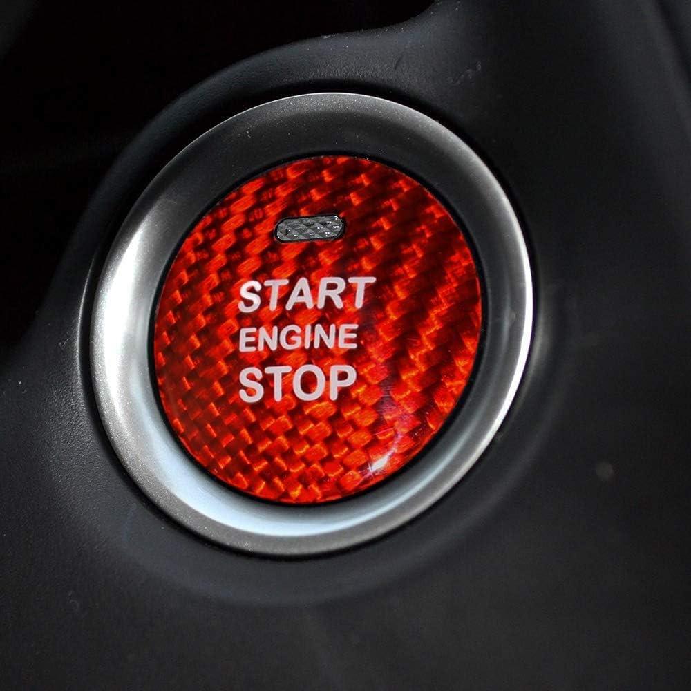 Red LWYSZB Carbon Fiber Car Engine Start Button Sticker Interior Trim for Mazda Axela Atenza CX-3