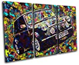 Bold Bloc Design - Vintage Retro Paint Mini Cooper Cars 90x60cm TREBLE Canvas Art Print Box Framed Picture Wall Hanging - Hand Made In The UK - Framed And Ready To Hang