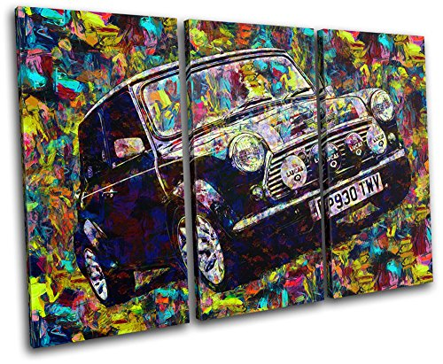 Bold Bloc Design - Vintage Retro Paint Mini Cooper Cars 90x60cm TREBLE Canvas Art Print Box Framed Picture Wall Hanging - Hand Made In The UK - Framed And Ready To Hang by Bold Bloc Design