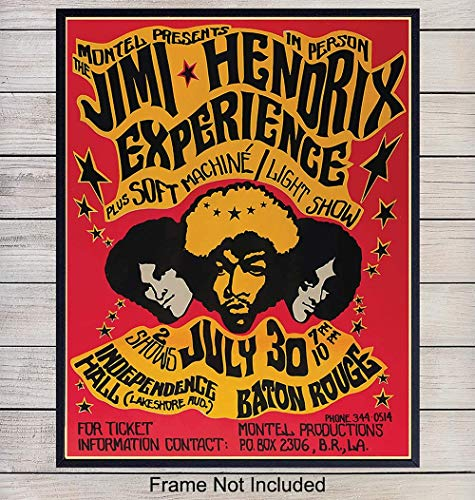 Jimi Hendrix Vintage Wall Art Print - Great Home Decor for Bedroom, Den or Office - Perfect Gift for Him, Music, Woodstock and Rock and Roll Fans - 8x10 Photo - Unframed
