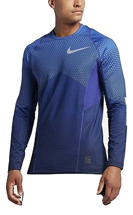 Efterstræbte Amazon.com: Nike Pro Hyperwarm Fitted Long Sleeve 917263 480 Blue NA-44