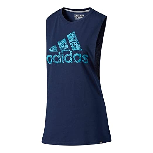 89b3ea90b83a3 adidas Women's Badge of Sport Floral Muscle Tank Top, Collegiate  Navy/Energy Blue,