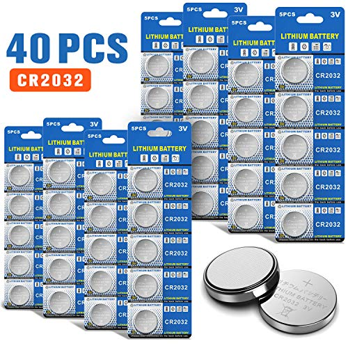 JOOBEF CR2032 Lithium 3V Battery, Electronic Coin Cell Button for Toys Calculators Watches(40 Pcs) -