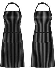 InnoGear 2 Packs Tablier De Cuisine Salopettes avec 2 Poches Imperméables Réglable Tabliers pour Femmes Hommes Chef