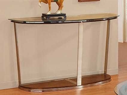 Homelegance Dunham Half Moon Glass Sofa Table W/ Metal Legs