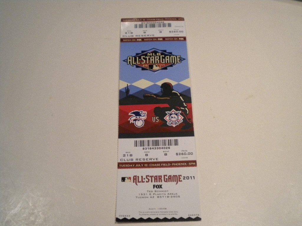 2011 Baseball MLB Allstar Game Ticket Phoenix,Az Mint