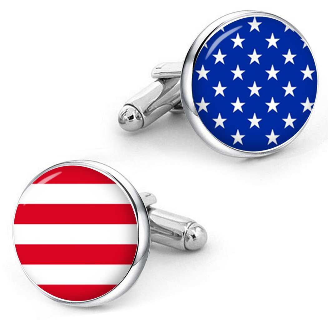 Kooer American Flag Cufflinks Flag of USA Patriots Jewelry Custom Personalized Cuff Links Tie Clip Set