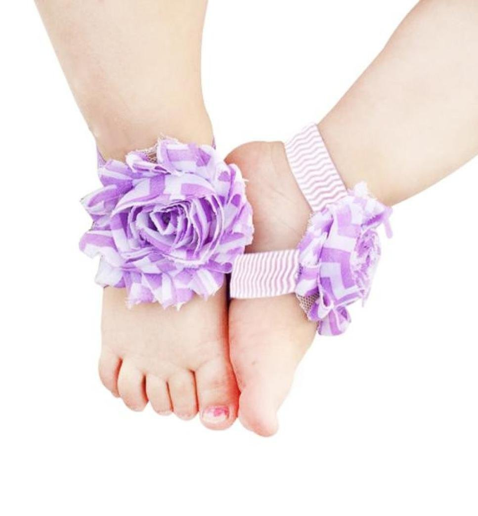 Voberry Baby Feet Accessories Chiffon Foot Flower Barefoots Sandals (Purplel) by Voberry (Image #1)