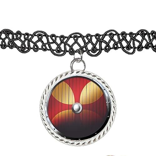 Vector ilustración of a Viking Shield Gargantilla Colgante Encanto Collar: Amazon.es: Joyería