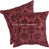 DK Homewares Indian Outdoor Throw Pillow Covers Maroon Mirror Work Embroidered Cotton Square Cushion Covers Set Of 2 40 x 40 cm (16x16 Inch) By