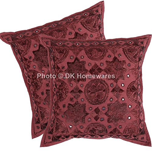 DK Homewares Indian Outdoor Throw Pillow Covers Maroon Mirrored Work Embroidered Cotton Square Cushion Covers Set of 2 40 x 40 cm (16x16 Inch)