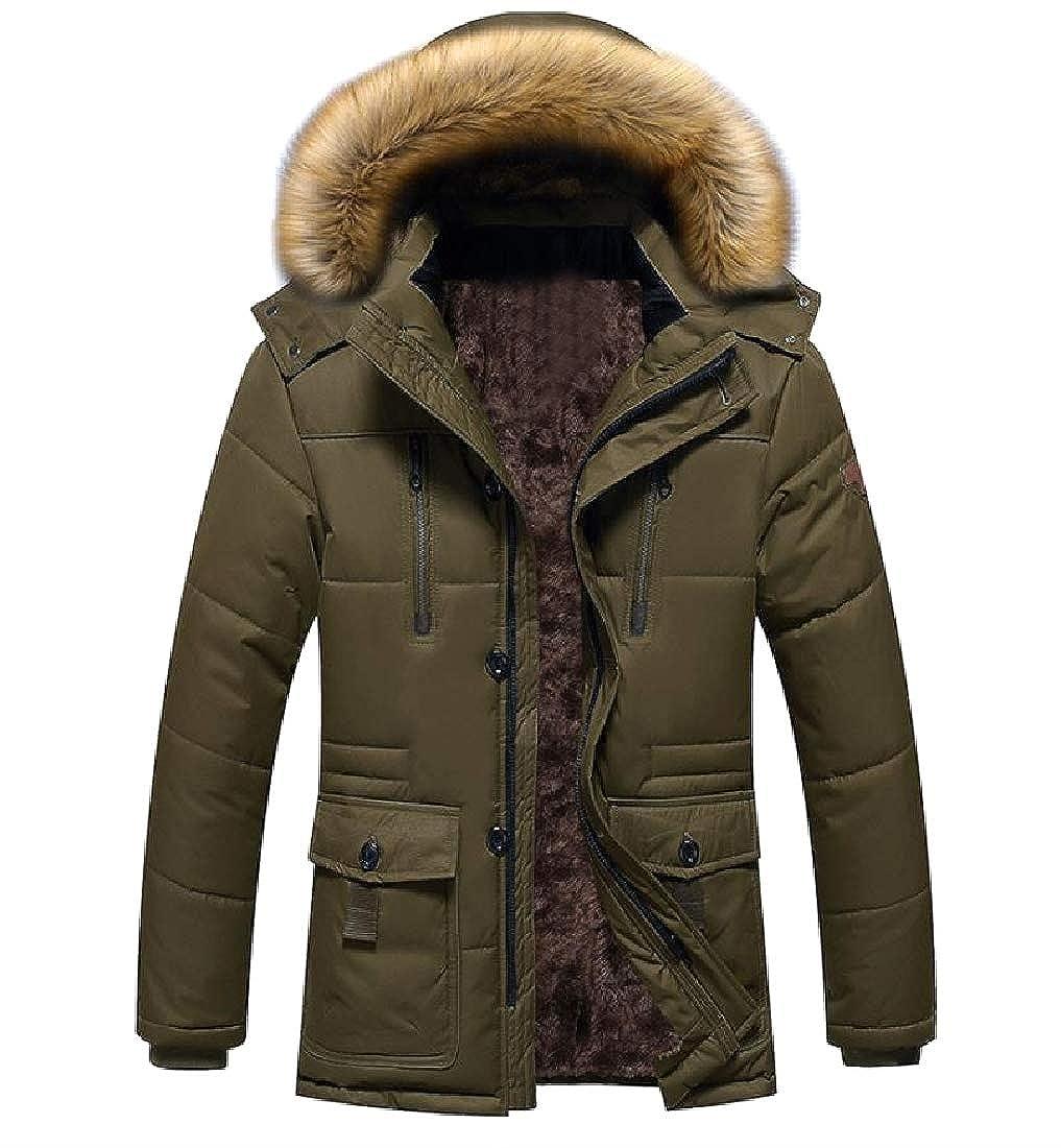 NestYu Mens Fleece Warm Plus Size Regular Brumal Classic-Fit Thick Coat