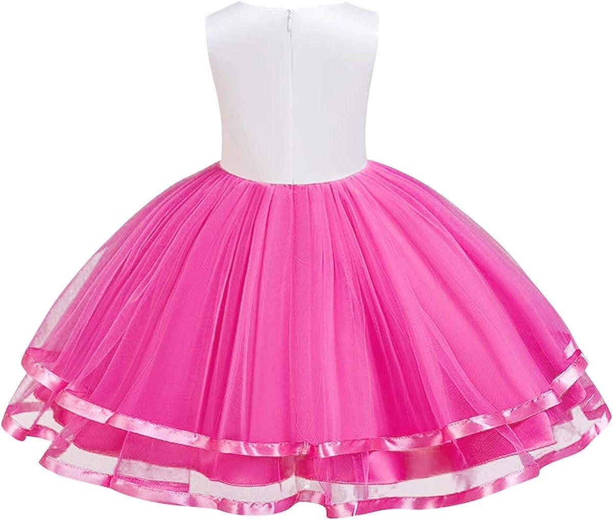 HenzWorld Unicorn Tutu Dress Girls Princess Flower Wedding Birthday Party Outfit Pageant Dresses