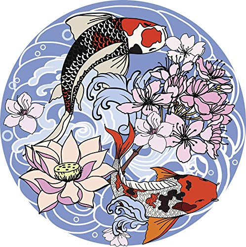 Cool Japanese Koi Fish Flowers and Waves Cartoon Icon - Colorful #3 (8