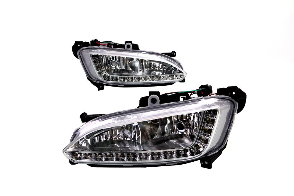 1Set LED DRL Daytime Running Light Fog Lamp Generic fit for Hyundai Santa Fe/IX45 2013-2015 topnicecar