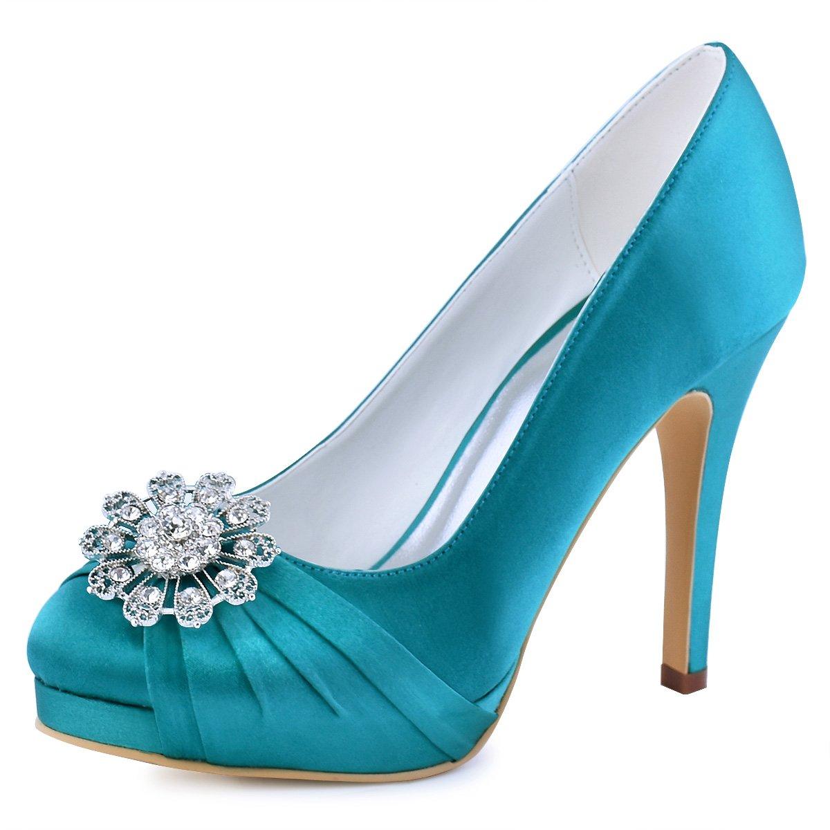 Elegantpark EP2015-PF Mujeres Bombas Punta Cerrada Zapatos Plataforma Zapatos Tacón Alto Rhinestones Satén Wedding Party Zapatos Novia 42 EU|Teal