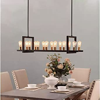 Farmhouse Chandelier Lighting Great For Dining Rooms And Kitchen Island Areas Rectangular Linear Hanging Lamp