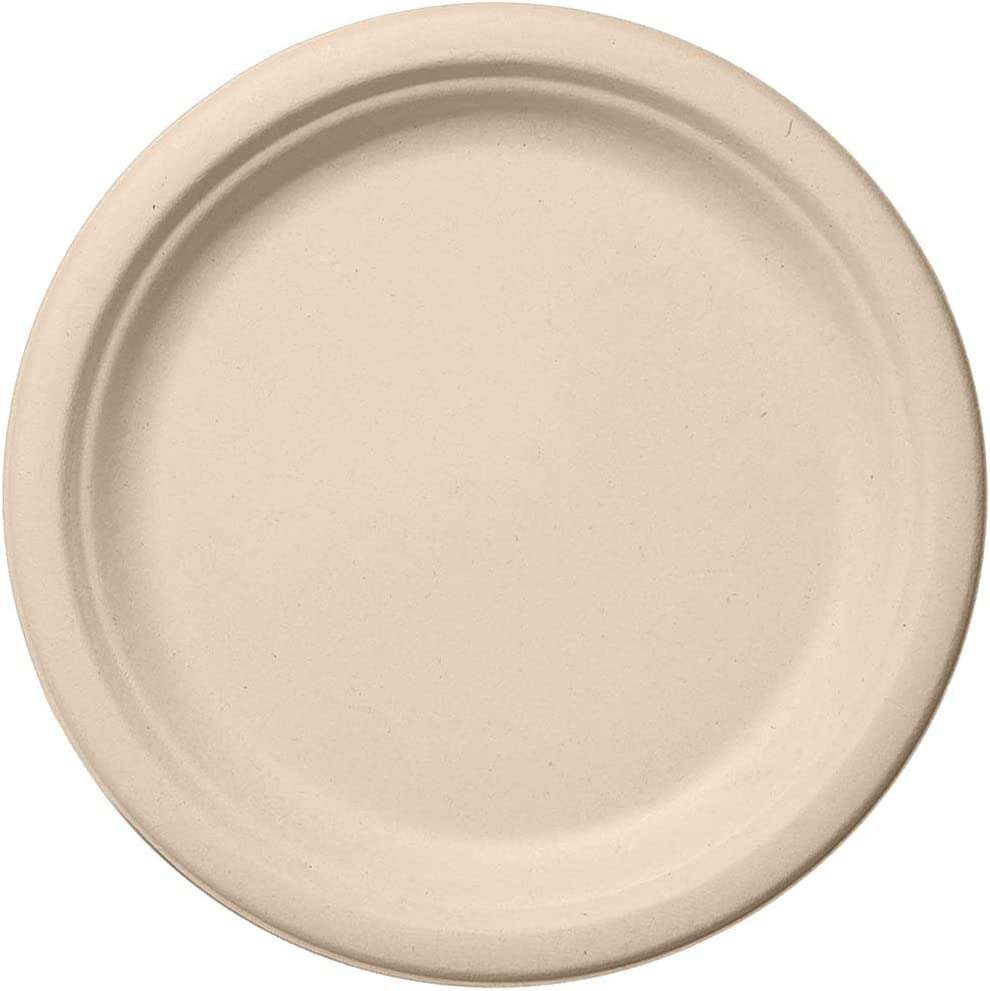 """Party Essentials Biodegradable Bagasse, Eco-Friendly Sugar Cane Fibers Round Plates, 6"""", 50-Count, Natural"""