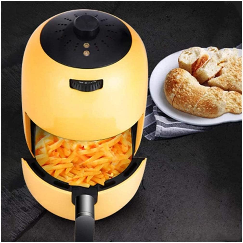 ROBDAE Air Fryer 1000-Watts Hot Air Fryer Oven Stainless Steel Electric Oilless Cooker with Nonstick Square Basket Compact Air Fryer (Color : Yellow, Size : 2L)