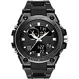 LZRDZSW メンズデジタルスポーツウォッチ防水アナログカジュアル腕時計メンズブラックメンズラバーバンドデジタル防水ウォッチボーイズファッションスポーツ腕時計