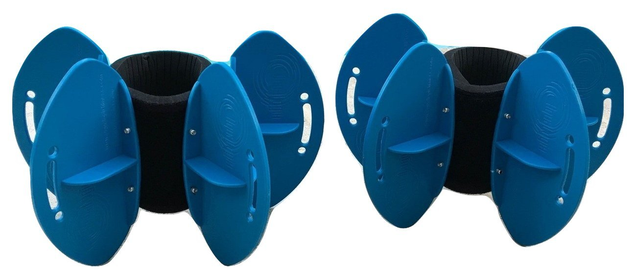 AquaLogix Blue Max Resistance Aquatic Fins - Omni-Directional Water/Drag Resistance Exercise for Lower and Upper Body Pool Workouts - Includes Online Demonstration Video (Fins Pair HRBBLS) by AquaLogix