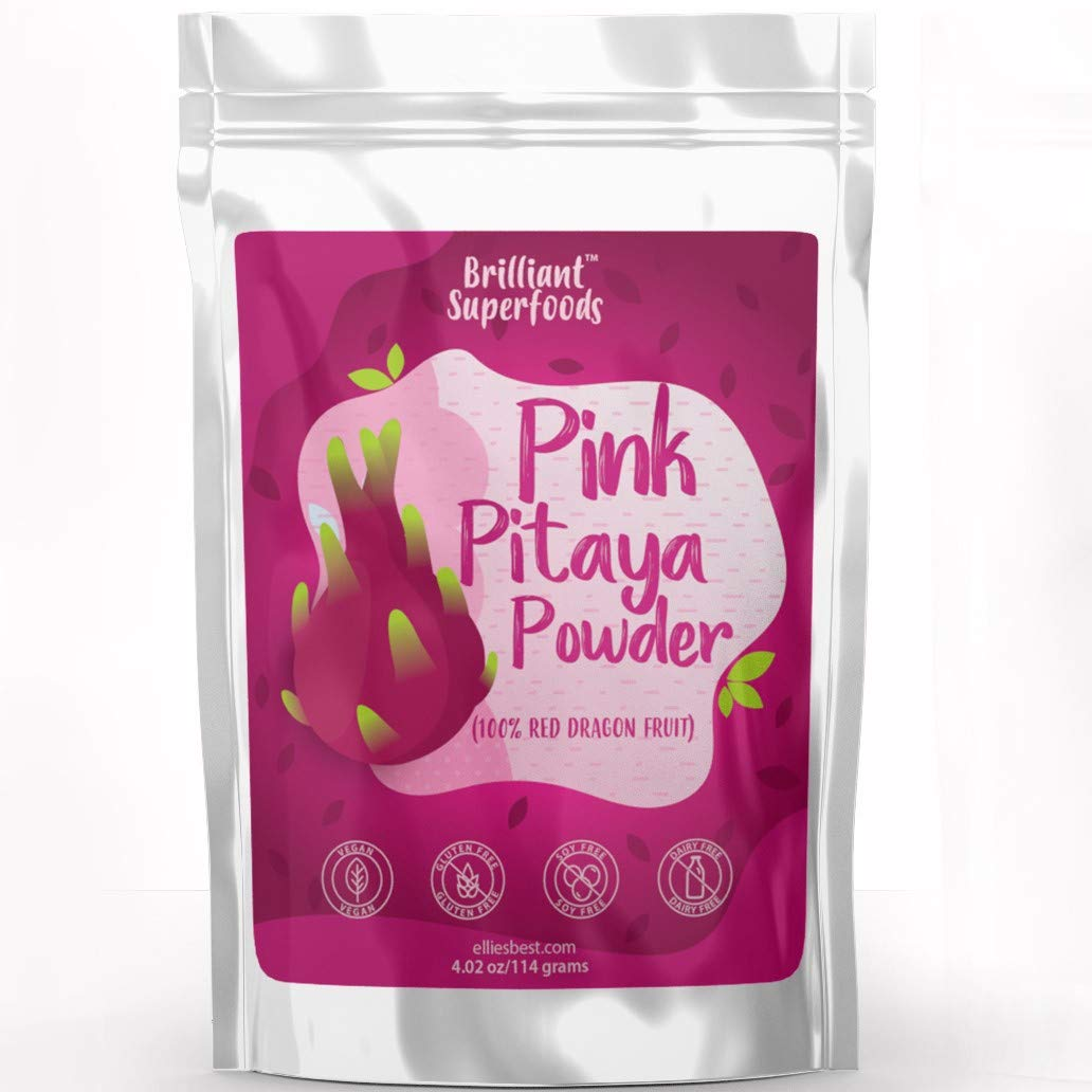 Pink Pitaya Red Dragon Fruit Powder - Cold Extracted & Freeze Dried - 4.02 OZ/ 114 gram - Electric Pink Food Coloring Perfect For Smoothie Bowls, Smoothies & Almond Milk Fun! - Ellie's Best …