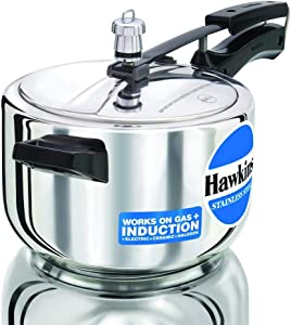 Hawkins Stainless Steel Induction Compatible Pressure Cooker, 4 Litre, Silver (HSS40)