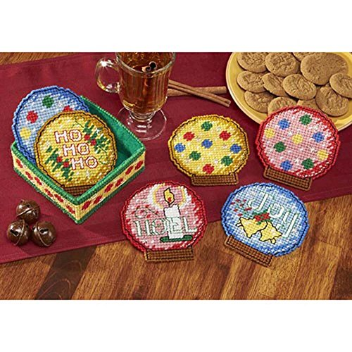 Herrschners Holiday Snow Globes Coasters with Holder Plastic Canvas Kit