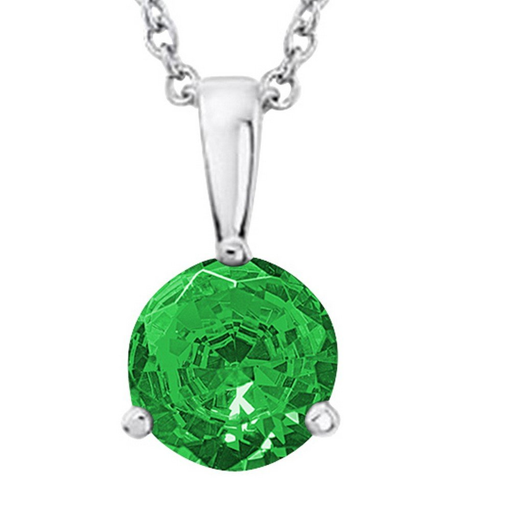 1/2 0.5 Carat 14K White Gold Round Emerald 3 Prong Solitaire Pendant Necklace (AAA Quality) W/ 16'' Gold Chain