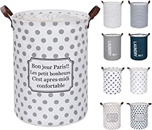 """FRIENDIY Large Laundry Hampers (9 Colors), Removable Laundry Basket, Foldable Fabric Laundry Basket, Drawstring Waterproof Round Cotton Linen Storage Basket. (Gray Point, Thickened 19""""/Large)"""