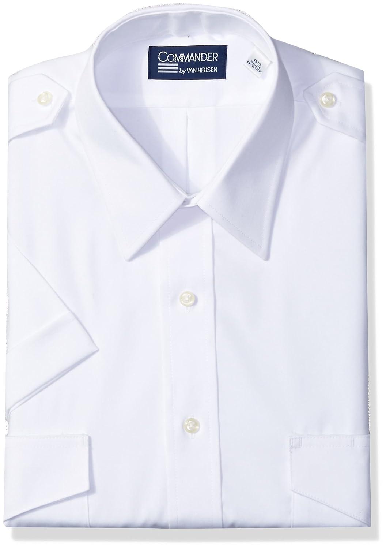 Van Heusen Mens Dress Shirts Short Sleeve Pilot Shirt Solid Spread