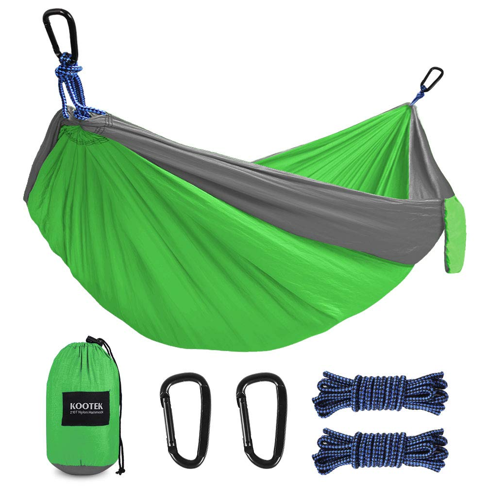 Kootek Camping Hammock Portable Indoor Outdoor Tree Hammock with 2 Hanging Ropes, Lightweight Nylon Parachute Hammocks for Backpacking, Travel, Beach, Backyard, Hiking (Gray/Green) by Kootek