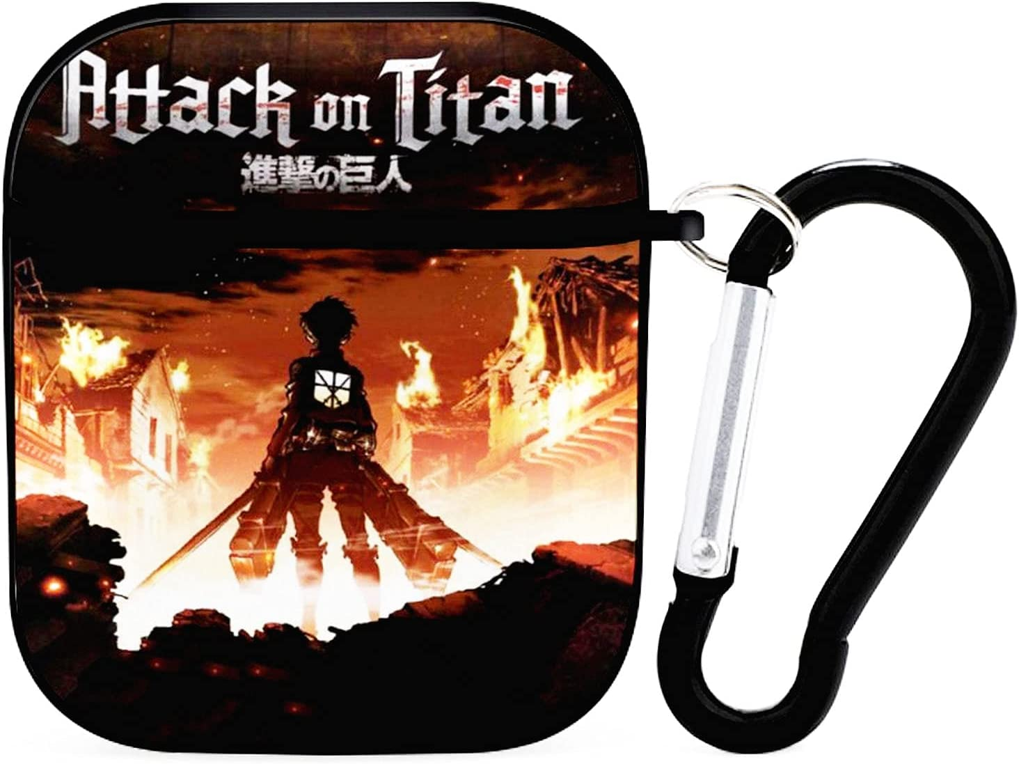 Attack on Titan Airpod Case, Shockproof and Anti-Drop Protective Case for AirPods,Anime Soft Shell TPU Protective Cover with Keychain, Suitable for Apple Airpod 2 & 1