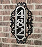 Touch Of Class Metal LaRoyal Vertical House Number Plaque Silver/Black One to Three Numbers