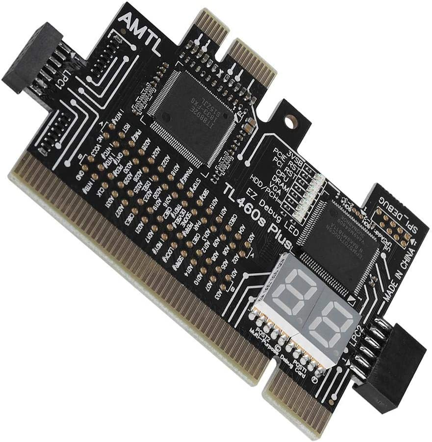 Analyzer Diagnostic Card for Laptop Desktop Black Motherboard Tester Maxmartt Motherboard PCI//PCIE//Mini PCIE//LPC PC 4.0 2.5 0.1in