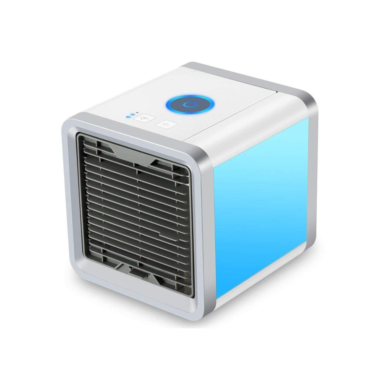 Auppy Air Cooler Portable Mini Personal Space Air Conditioner, Humidifier and Purifier with 7 Colors LED Lights for Room, Office, Outdoor (7 LED COLOR)