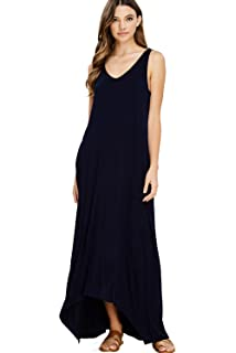 b10be9edc2 Annabelle Women s Casual V Neck Sleeveless Tank Top Long Maxi Dresses with  Pockets