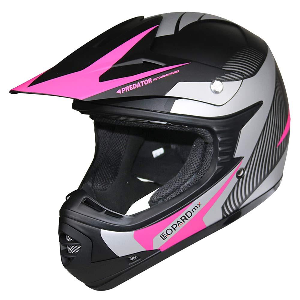 Leopard LEO-X19 PREDATOR Kids Motocross HELMET /& GLOVES /& GOGGLES White S 49-50cm Children Quad Bike ATV Go Karting Helmet