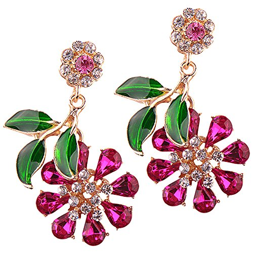 Rhinestone Large Crystal (LARGE Rhinestone Crystals Statement Flower Drop Dangling Earrings Perfect Summer Earrings In Pink, Hot Pink, White, Aurora Borealis, and Navy Blue (Hot Pink))