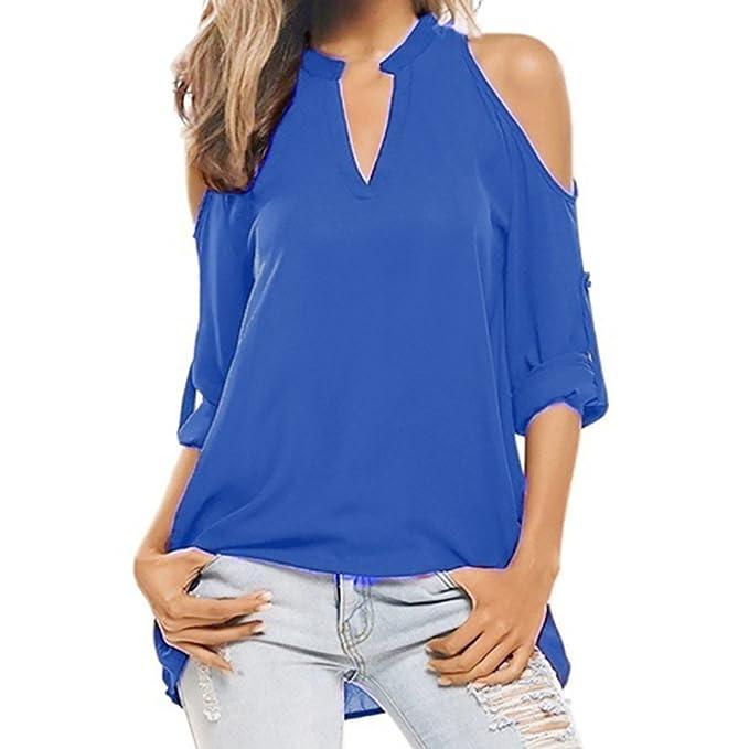 keepwin-blusa Nuevo Estilo! Camiseta De Mujer Blusa Sin Hombros con Cuello En V