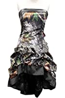 Oumans Chic Camo Prom Party Dress Short Hi-Lo Strapless Wedding Party Dress