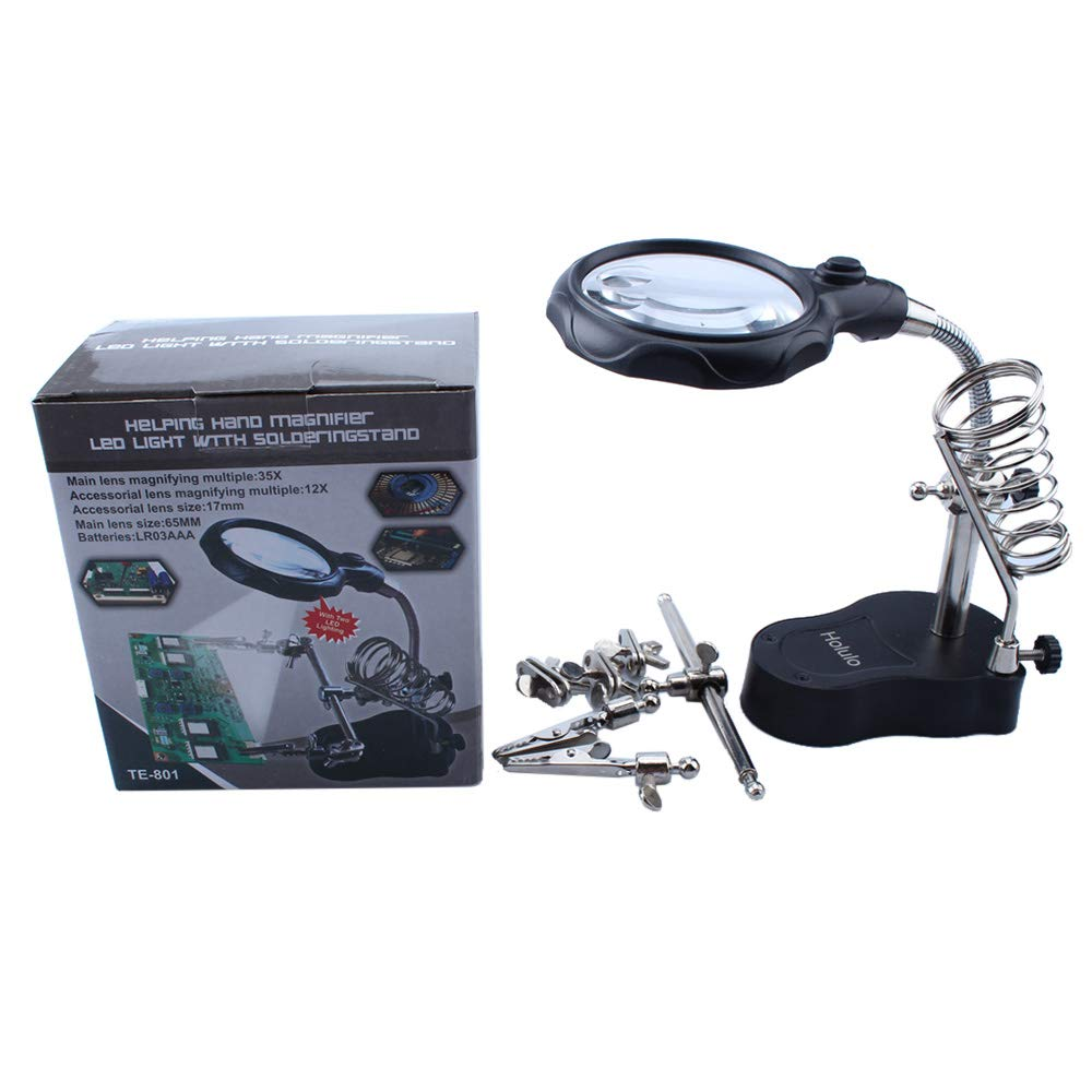 Joyutoy Multifunctional Helping Hand With Magnifying Glass With LED Light Bench Stand Desktop Magnifier for Hobby, Crafts, Inspection, Reading, Soldering, Jewelry Design, Sewing