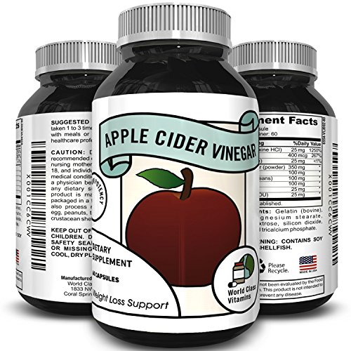Apple Cider Vinegar Supplement - Pure Detox & Weight Loss Pills - Supports Digestion - Suppress Appetite & Boost Metabolism - Natural Apple Cider Vinegar for Men & Women - By World Class Vitamins