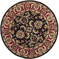 Safavieh Heritage Collection HG951A Handcrafted Traditional Oriental Chocolate and Red Wool Round Area Rug (4 Diameter)