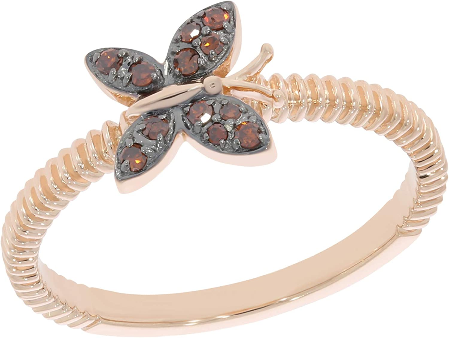 Prism Jewel Round Cognac Diamond Delicate Butterfly Ring