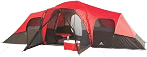 OZARK Trail Family Cabin Tent (Red/Black, 10 Person)