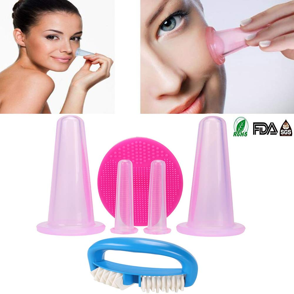 Facial Cupping Set Face and Eye Suction Cups Exfoliating Brush Entire Body Roller Massager, Anti-Fat Vacuum Tank Facial Care Set Health Massage(Pink) Korean BT