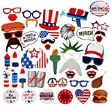 #9: Patriotic Photo Booth Props[45PACK] Lumiparty 4th of July Photo Booth Props for American Independence Day Veteran's Day Patriotic Party Supplies Decorations DIY Kit Party Favors for Kids and Adults.