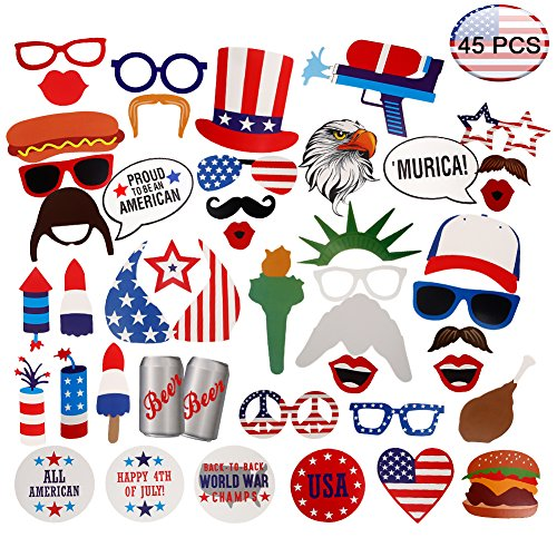 4th of July Patriotic Photo Booth Props(45PACK) Lumiparty Photo Booth Props for American Independence Day Veteran's Day Patriotic Party Supplies Decorations DIY Kit Party Favors for Kids and Adults.
