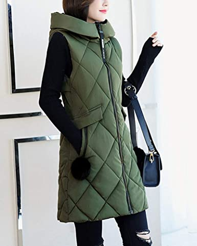 b34a2c2d7ea1ad Daunenweste Steppweste Damen Warm Weiche Ärmellos Jacke Mit Kapuze Slim Fit:  Amazon.de: Bekleidung
